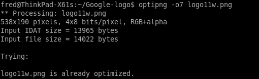 OptiPNG run, unable to further optimize the file